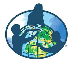 Clip art of three people looking into a globe