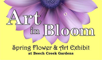 Art in Bloom Spring Flower and Art Exhibit yellow graphic with purple flower