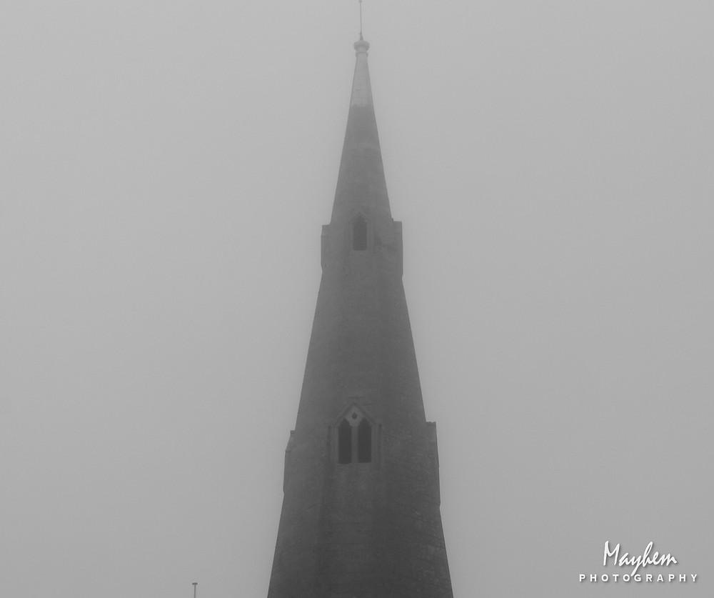 Saint Mary's church shrouded in the morning mist