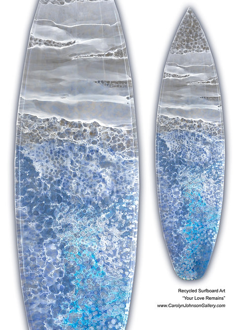Recycled Surfboard Art-wall art- blue water, white waves, beach sand w/resin metallics-Title: Your Love Remains