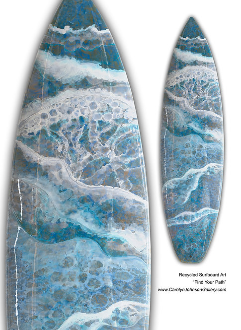 Recycled Surfboard Art- wall art blue/teal water, white waves, beach w/resin and metallics - Title: Find Your Path