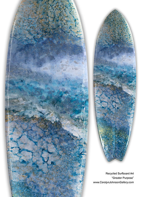 Recycled Surfboard Art - wall art variations of blue water, white waves w/resin and metallics - Title: Greater Purpose
