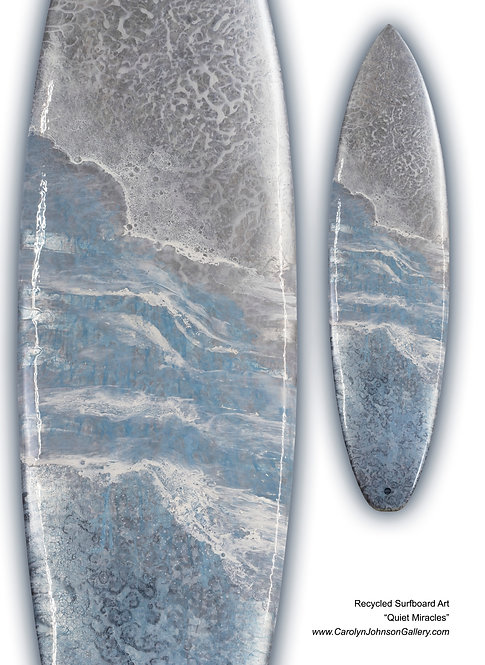 Recycled Surfboard Art-wall art- blue water, white waves, beach sand w/resin metallics-Title: Quiet Miracles