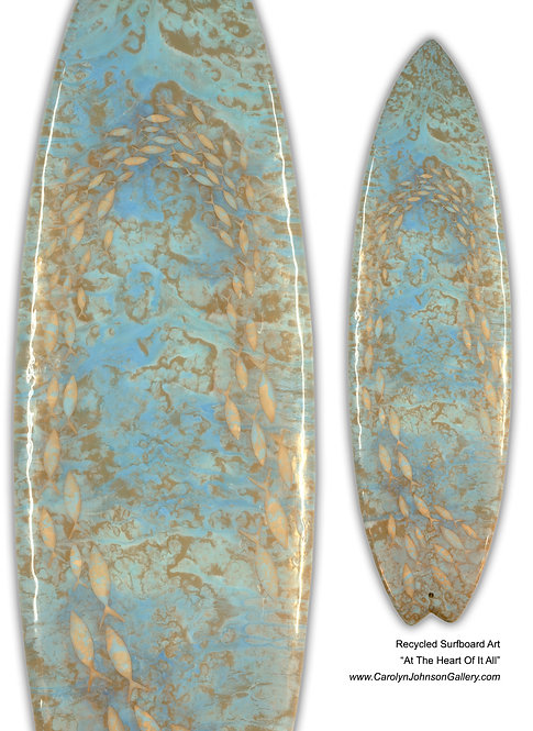 """Recycled Surf Board Art """"At The Heart Of It All"""""""