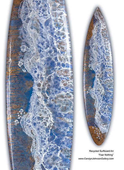 Recycled Surfboard Art-wall art-rich blue water, white waves, gold beach sand w/resin metallics-Title: Fear Nothing