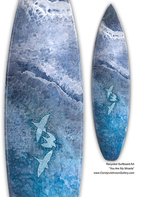 Recycled Surfboard Art- wall art blue water, white waves, birds w/beach w/resin and metallics - Title: You Are My Miracle