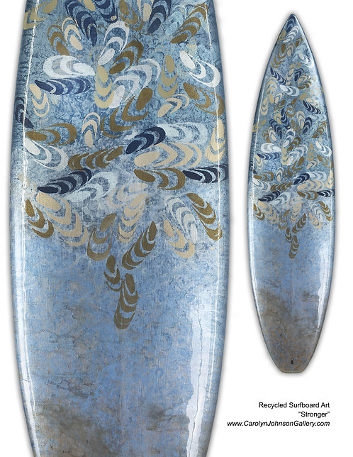Recycled Surfboard Art- wall art patterned mussel shells w/resin and metallics - Title: Stronger