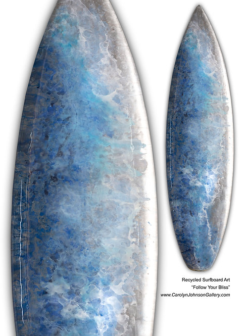Recycled Surfboard Art- wall art blue water, white waves, beach w/resin and metallics - Title: Follow Your Bliss
