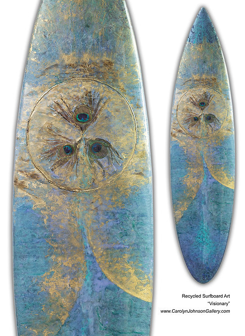 """Recycled Surf Board Art """"Visionary"""""""