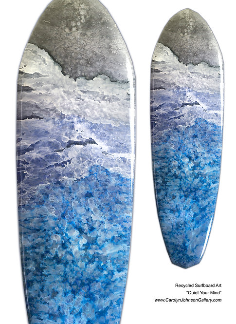 Recycled Surfboard Art-wall art- blue water, white waves, beach sand w/resin metallics-Title: Quiet Your Mind