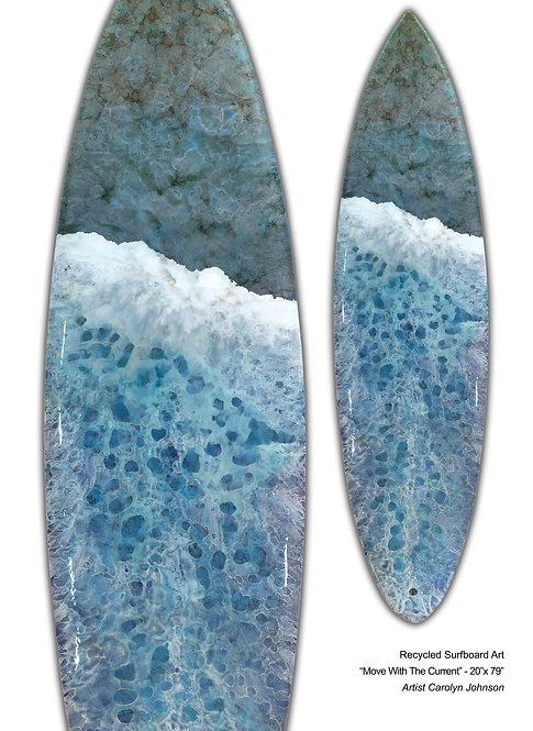 "Recycled Surfboard Art ""Move With The Current"""