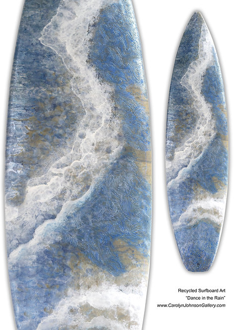 Recycled Surfboard Art- wall art blue water, white waves, tan beach sand w/resin and metallics - Title: Dance in the rain