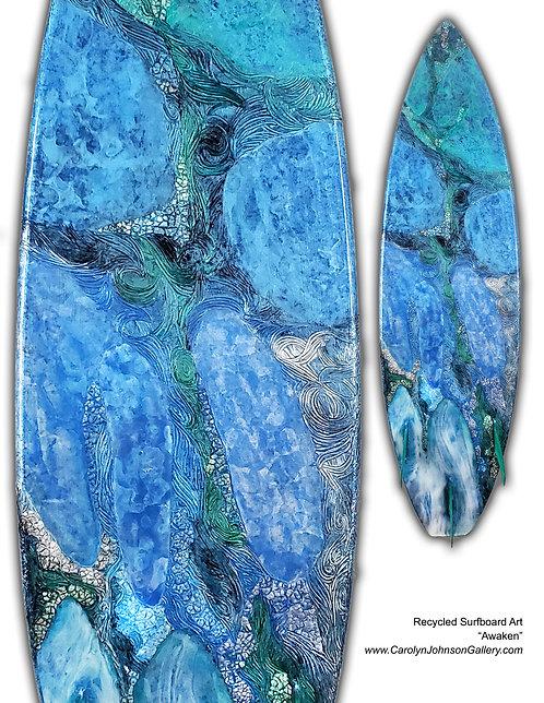 Recycled Surfboard Art-wall art-rich blue water, texture waves, beach sand w/resin metallics-Title: Awaken