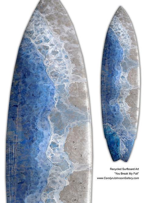Recycled Surfboard Art-wall art-rich blue water, white waves, tan beach sand w/resin metallics-Title: You Break My Fall