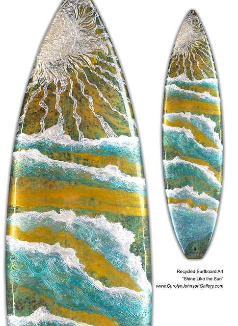 Recycled Surfboard Art-wall art,teal/gold water, white waves, sun,beach w/resin and texture - Title: Shine Like the Sun