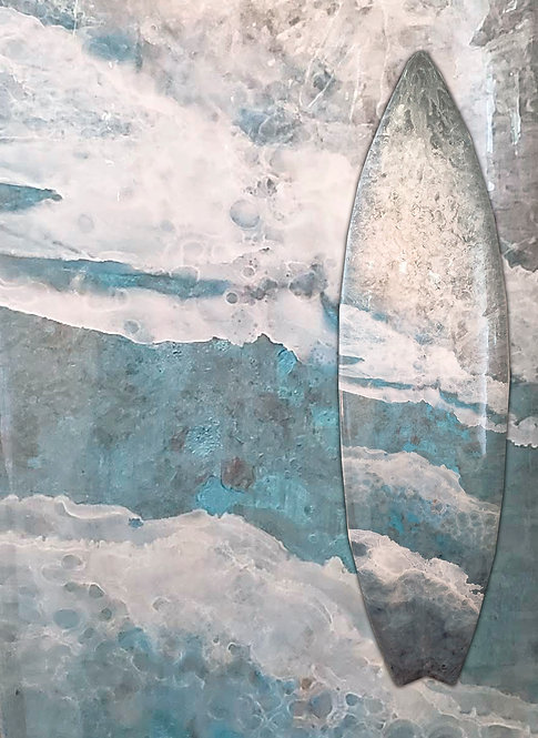 """Recycled Surf Board Art """"Quiet Miracles III"""""""