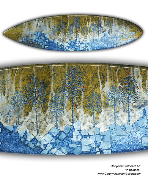 Recycled Surfboard Art- wall art tree forest w/blue rocks w/resin and metallics - Title: In Balance