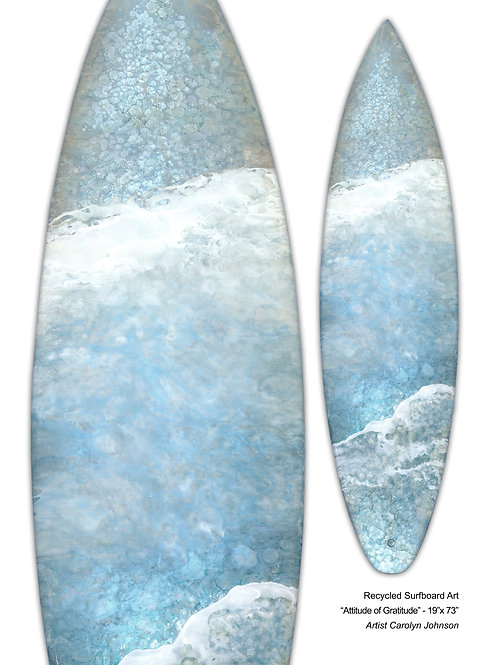 "Recycled Surfboard Art ""Attitude Of Gratitude"""