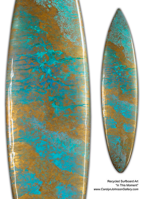 Recycled Surfboard Art-wall art- teal/gold water, waves, gold beach sand w/resin metallics-Title: In This Moment
