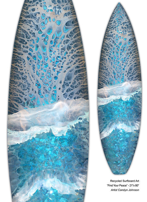 """Recycled Surfboard Art """"Find Your Peace"""""""
