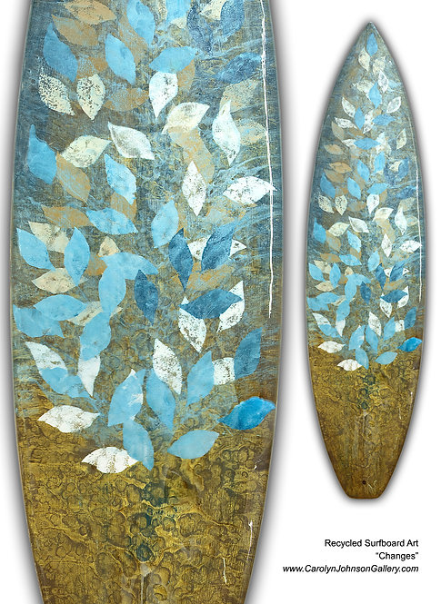 Recycled Surfboard Art- wall art patterned blue/white falling leaves w/resin and metallics - Title: Changes