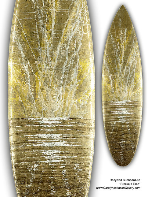 Recycled Surfboard Art- wall art gold shimmering water, white waves, beach w/resin and metallics - Title: Precious Time