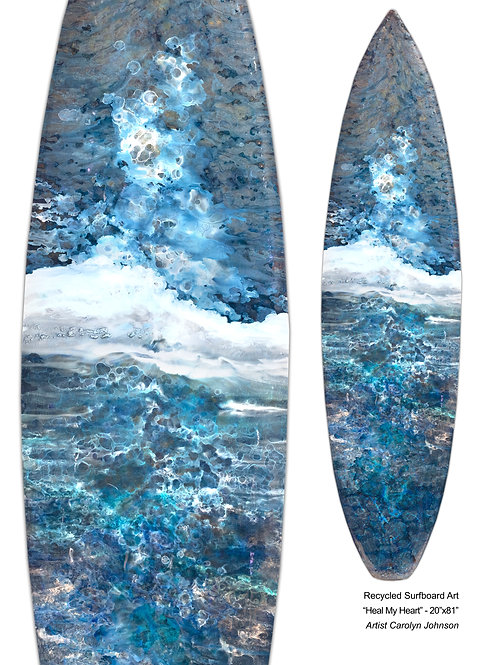 """Recycled Surf Board Art """"Heal My Heart"""""""