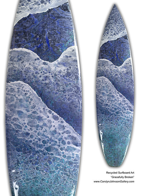 "Recycled Surf Board Art ""Gracefully Broken"""