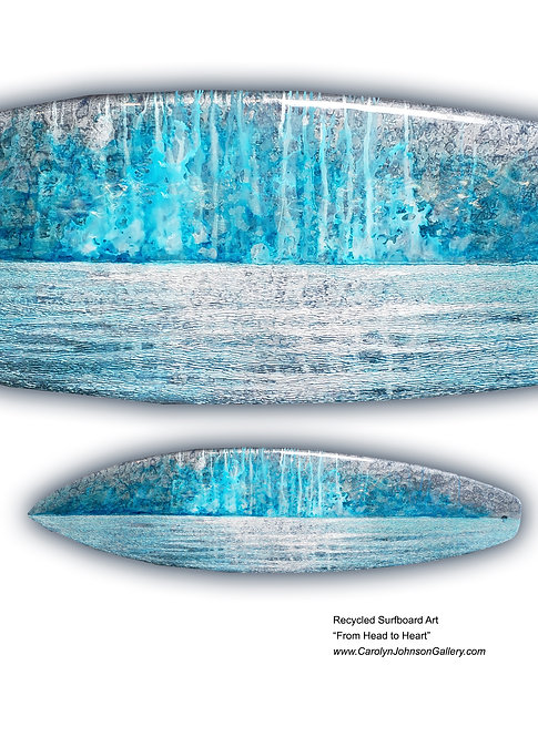 Recycled Surfboard Art- wall art textured waves blue/white oceanscape w/resin and metallics - Title: From Head to Heart