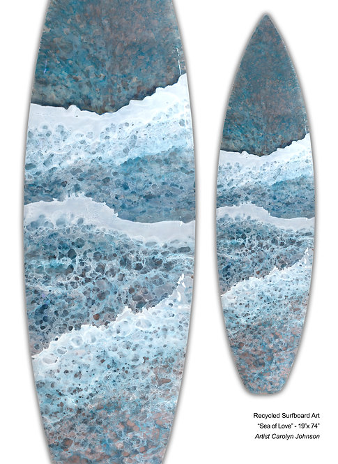 "Recycled Surfboard Art ""Sea Of Love"""