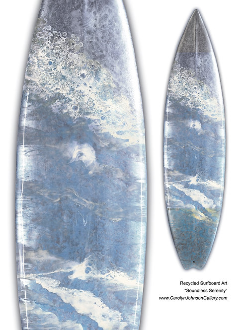 """Recycled Surfboard        """"Soundless Serenity"""""""