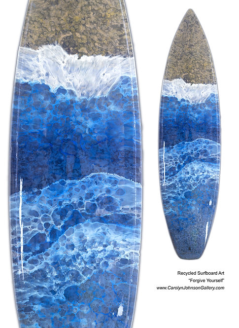 Recycled Surfboard Art-wall art- blue water, white waves, gold/tan beach sand w/resin metallics-Title: Forgive Yourself
