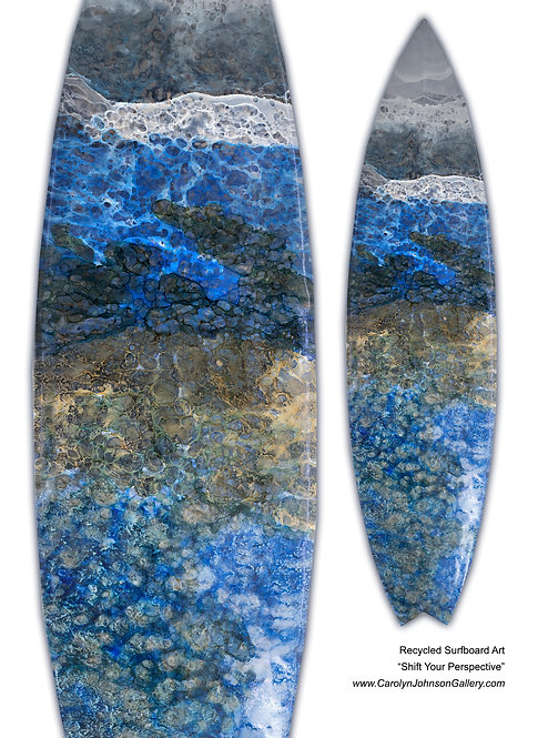 Recycled Surfboard Art-wall art-richblue water, white waves,tan beach sand w/resin metallics-Title:Shift Your Perspective