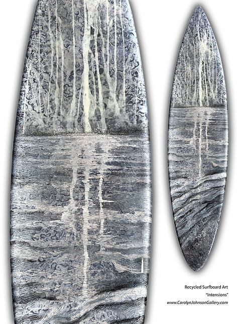Recycled Surfboard Art-wall art- silver and pearl water, waves, beach w/resin metallics-Title: Intensions