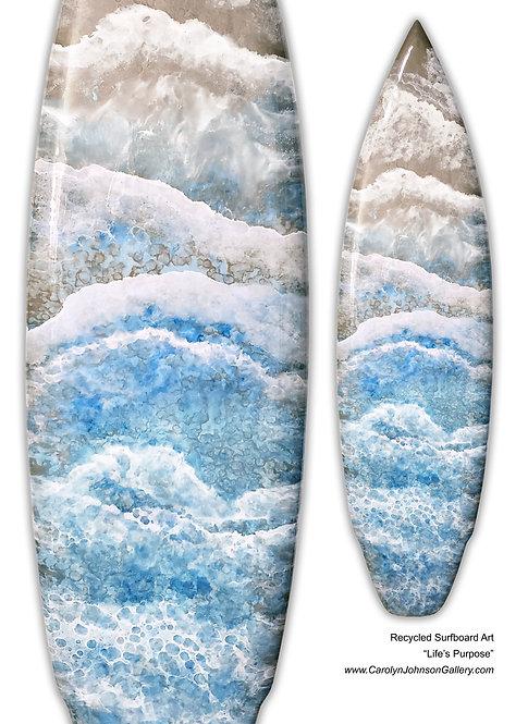 Recycled Surfboard Art-wall art- blue water, white waves, tan beach sand w/resin metallics-Title: Lifes Purpose