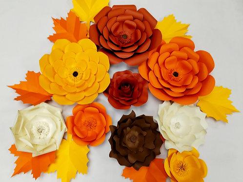 Handmade 17 Piece Paper Flower Set (Autumn)
