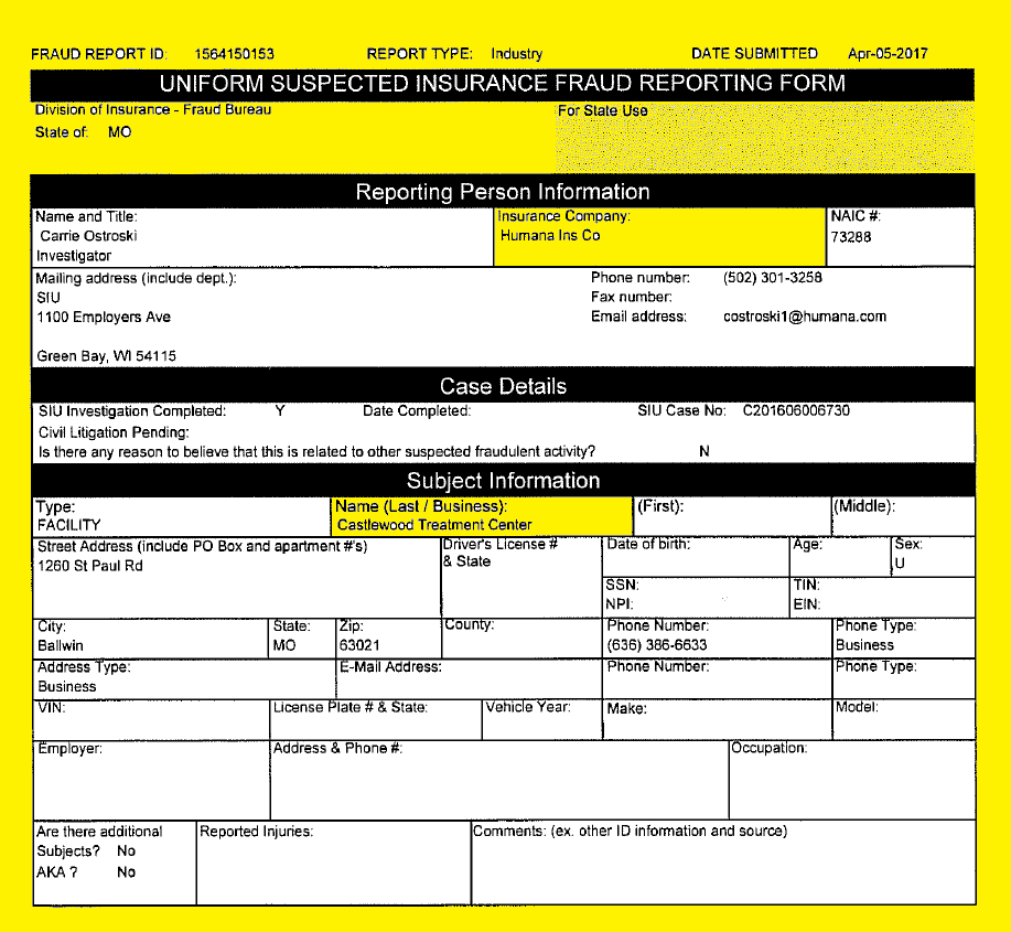 Alsana | Castlewood Treatment Center Fraud Report Apr-05-2017