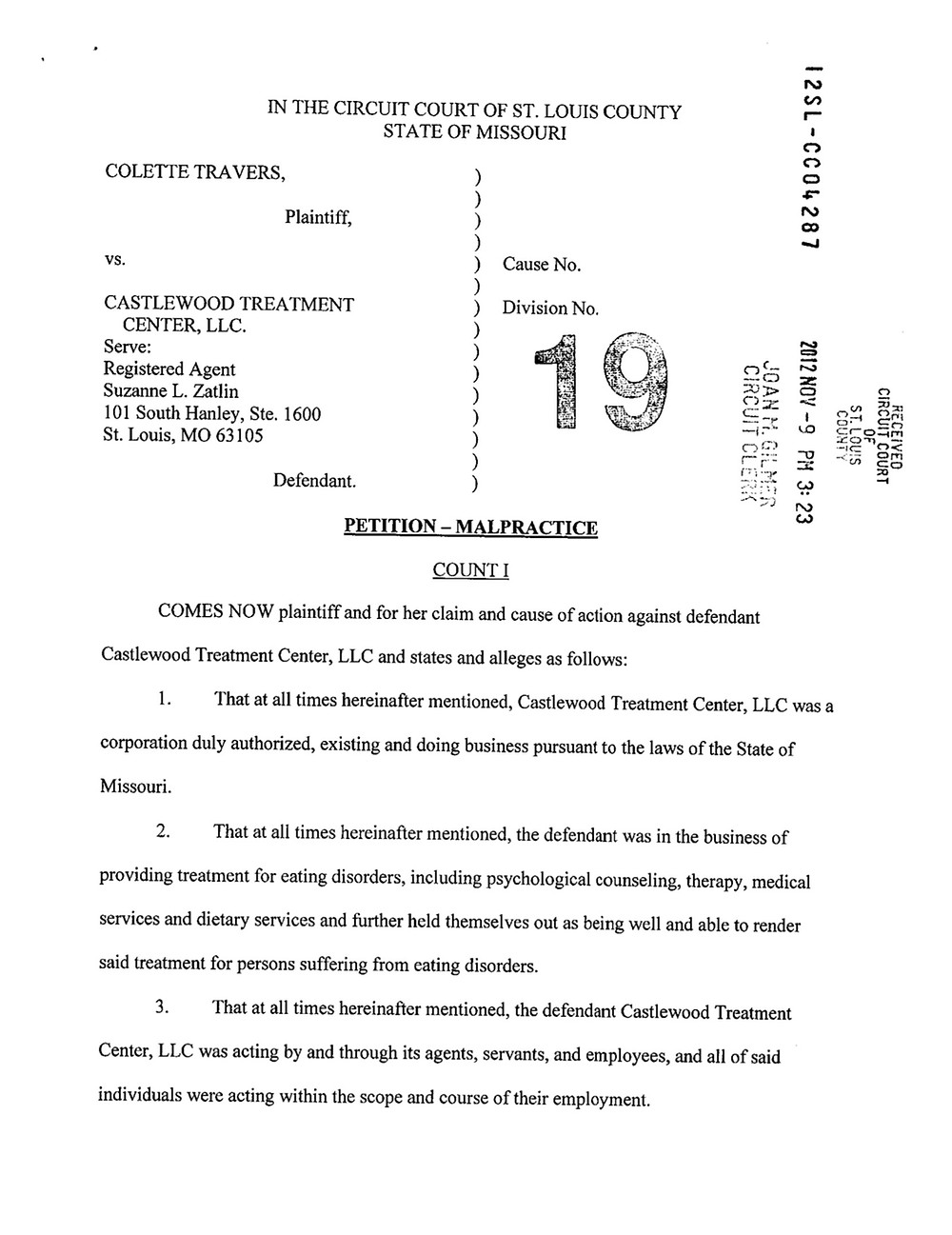 Castlewood Treatment Center Lawsuit #4 - Colette Travers