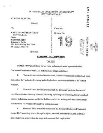 Alsana Castlewood Treatment Center Lawsuit #4 - Colette Travers