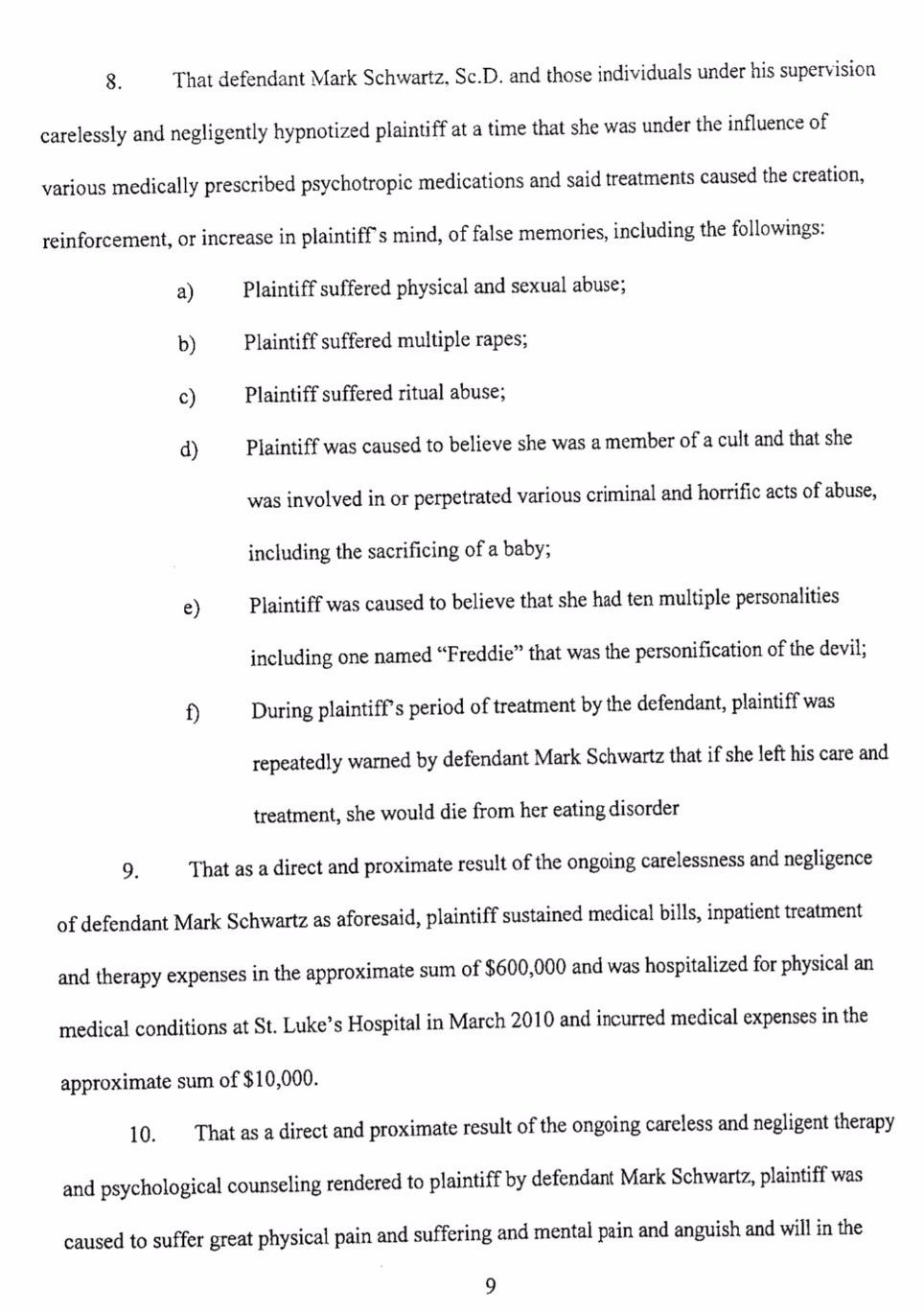 Castlewood Lawsuit/Mark Schwartz #2 - Leslie Thompson - page 9