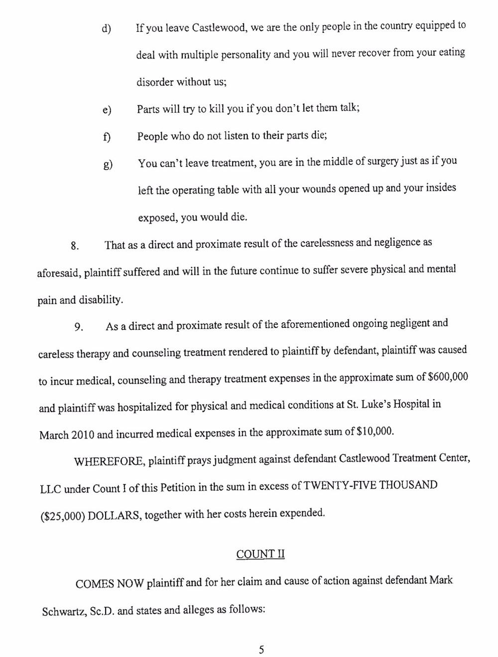 Castlewood Lawsuit/Mark Schwartz #2 - Leslie Thompson - page 5