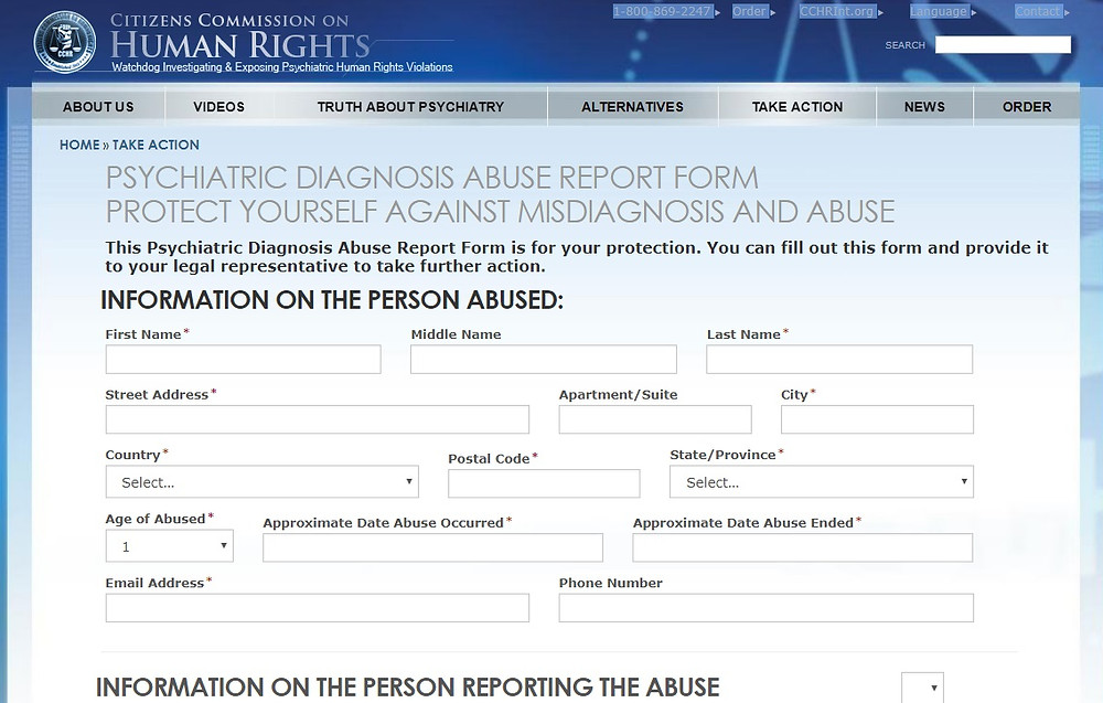 Psychiatric Abuse Report Form for reporting abuse at Alsana aka Castlewood