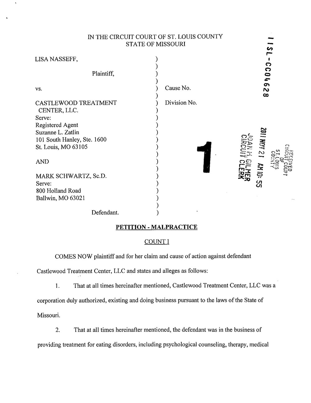 Castlewood Treatment Center Lawsuit - Lisa Nasseff