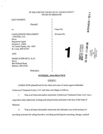 Castlewood Treatment Center Lawsuit #1 - Lisa Nasseff