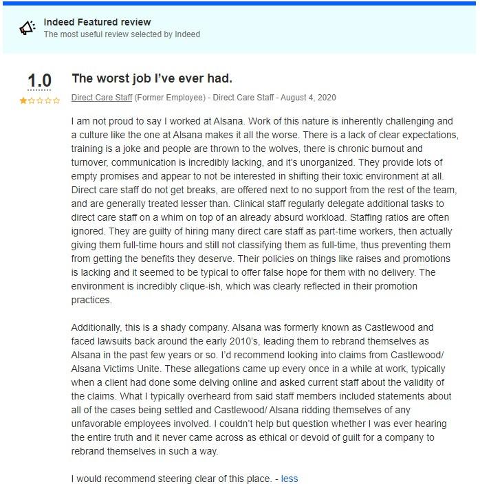 Alsana/Castlewood Emplyee Indeed Review