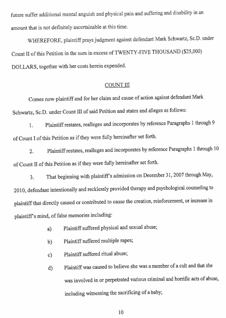 Castlewood Lawsuit/Mark Schwartz #2 - Leslie Thompson - page 10