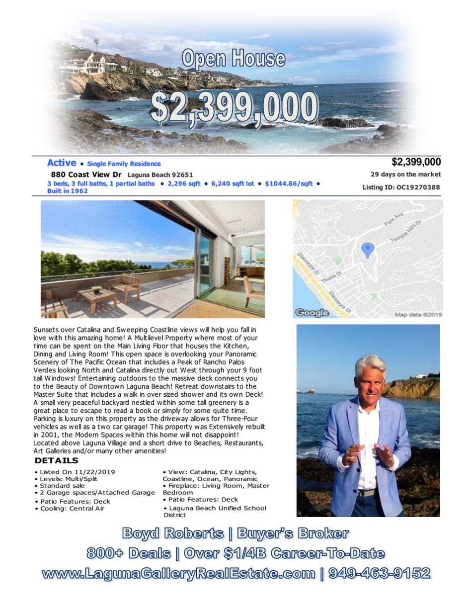 880 Coast View Drive | Open House Sunday 12:30 - 4:00 | Laguna Beach