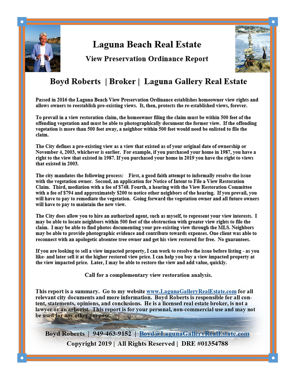 A special Laguna Beach real estate report on the Laguna Beach View Preservation Ordinance