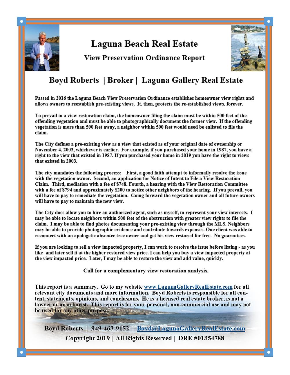 A special Laguna Beach real estate report on the Laguna Beach View Preservation Ordinance