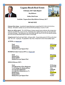 Laguna Beach Real Estate Sales Report February 2017